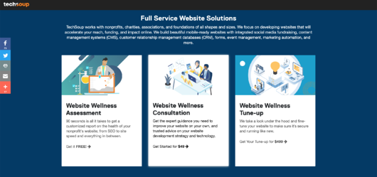 TechSoup Website Services Landing Page