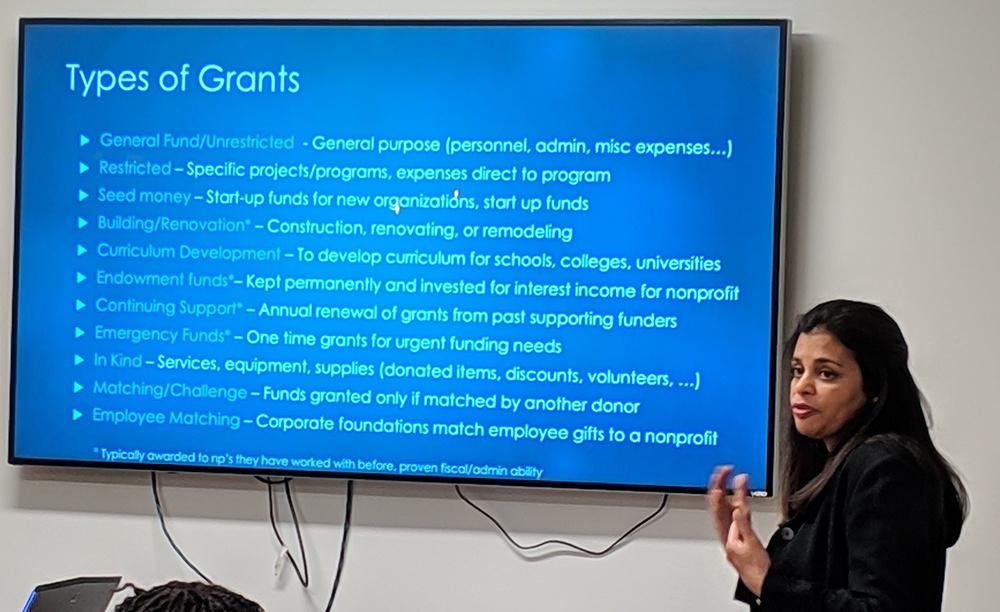 Usha Vig sharing types of grants