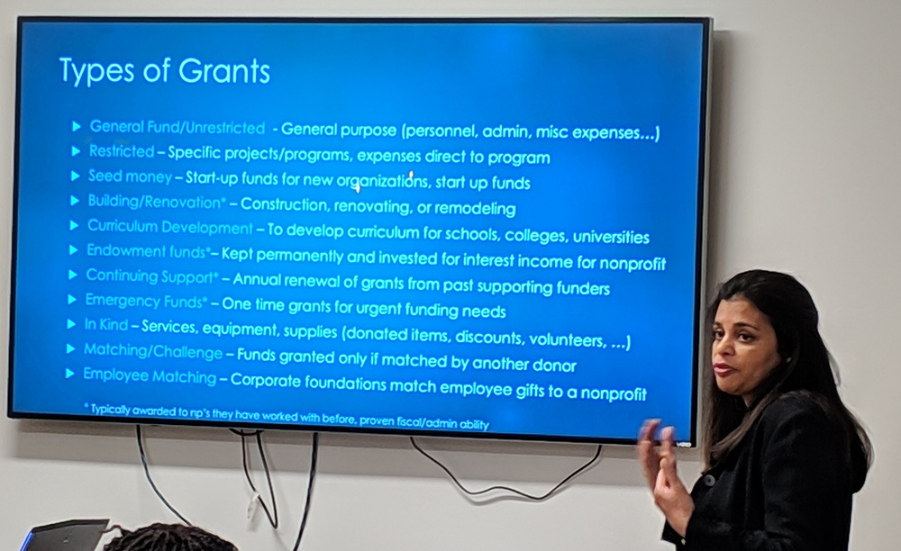 Usha Vig sharing types of grants