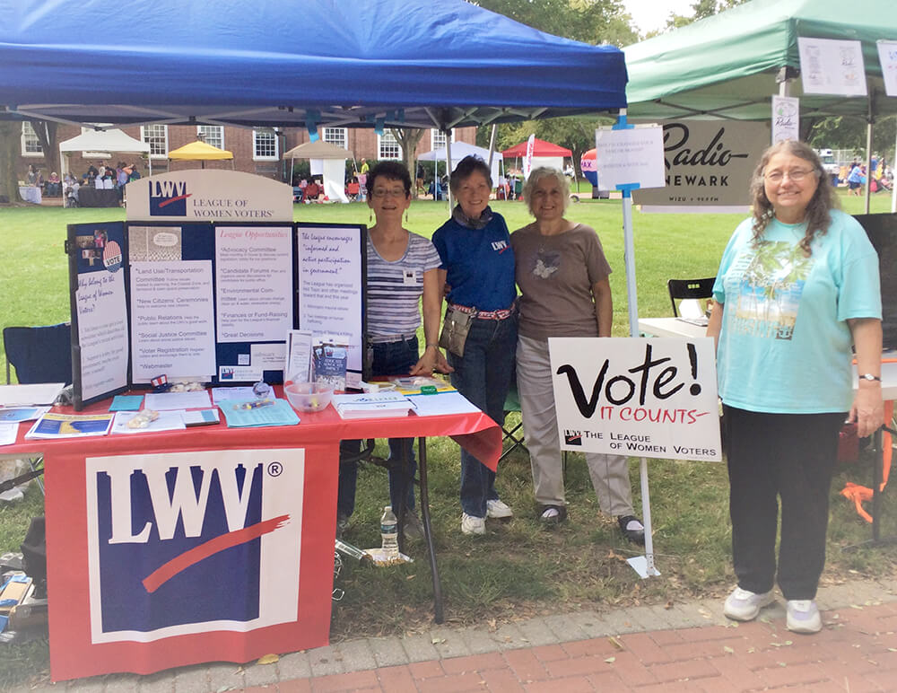 League of Women Voters Voting Registration Booth